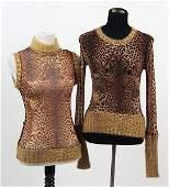 Two Sheer Jean Paul Gaultier Leopard Print Blouses