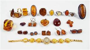 A Collection of Amber Jewelry.