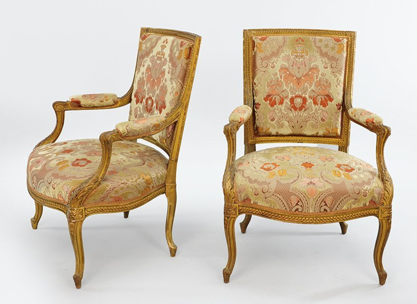 A Pair of Louis XV Style Gilt Wood Open Armchairs.