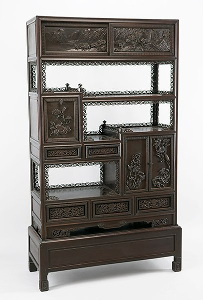 A Chinese Carved Rosewood Etagere.