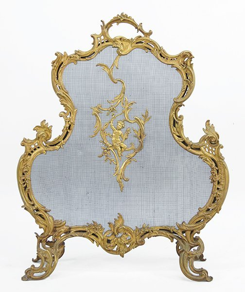 A French Louis XV Style Bronze Firescreen.