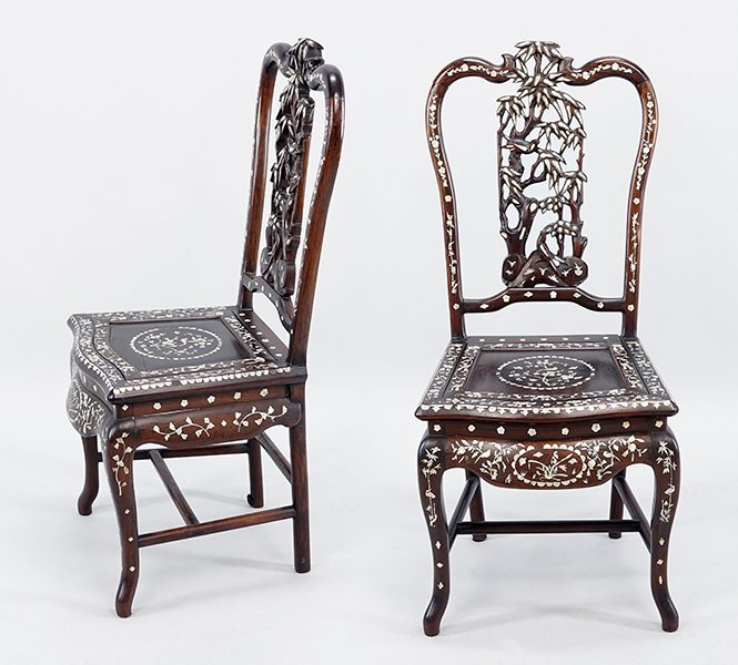 A Set of Five Chinese Dining Chairs.