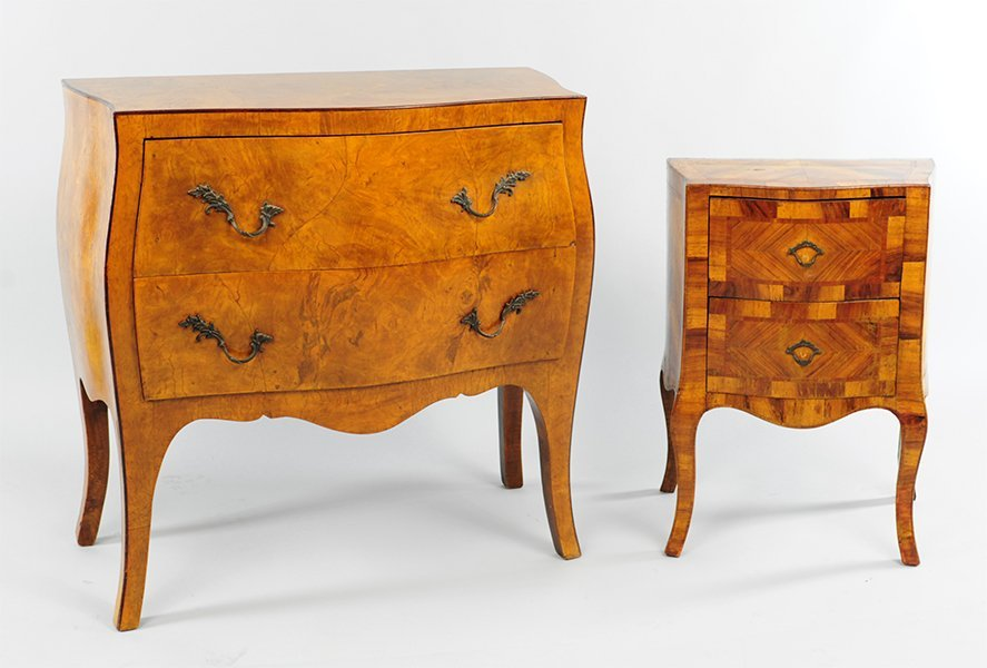 A French Walnut Two-Drawer Commode.