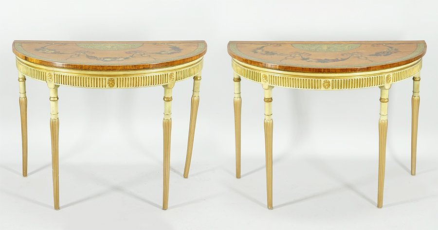 A Pair of Adam Style Demilune Tables.