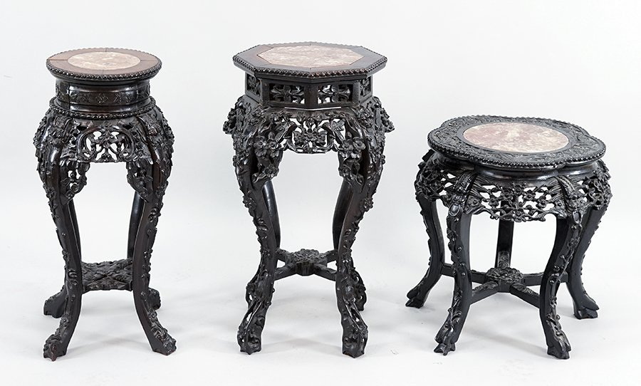 Three Chinese Carved Rosewood Plant Stands.