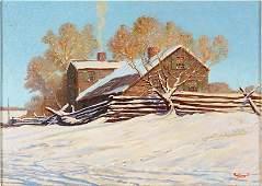Paul Strayer (American, 1885-1981) Cabin in Winter.