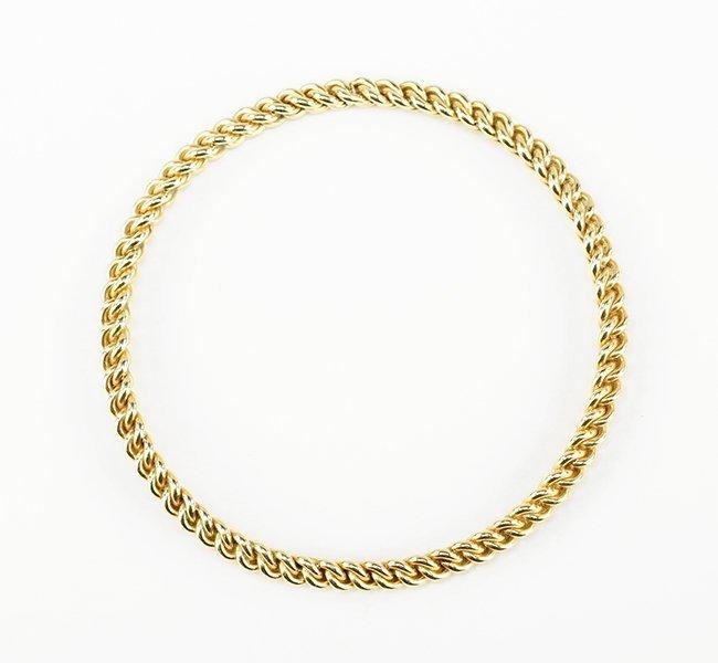 A 14 Karat Yellow Gold Rope Twist Bangle Bracelet.