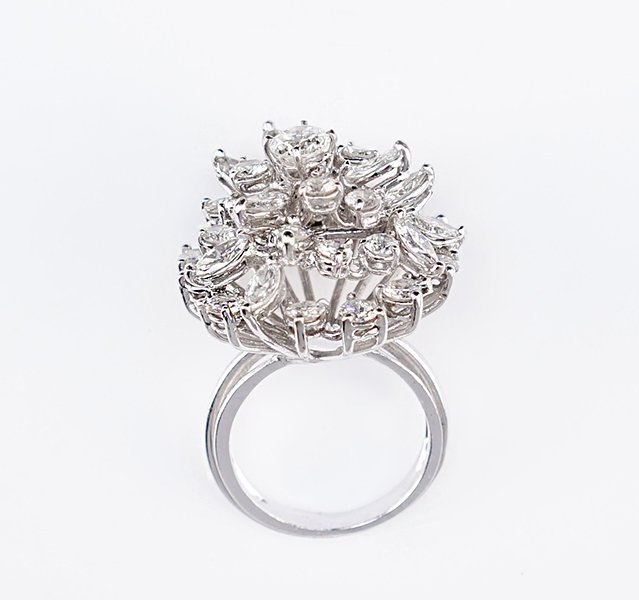 A Diamond and Platinum Cocktail Ring.