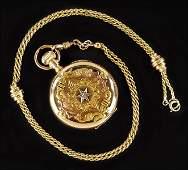 An Elgin 14 Karat Yellow Gold Pocket Watch.