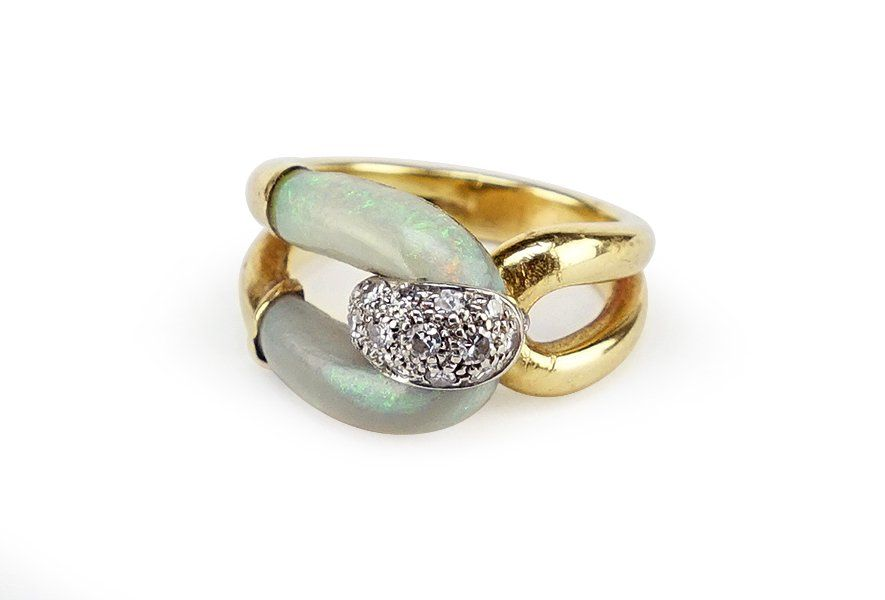 An Opal and Diamond Cocktail Ring.