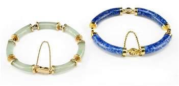 A Jade and 14 Karat Yellow Gold Bracelet.