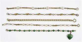 Three Cultured Pearl and 10 Karat Yellow Gold