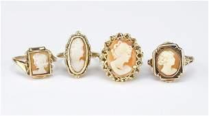Two 14 Karat Yellow Gold Cameo Rings.