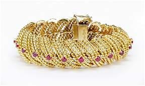 A Ruby and 18 Karat Yellow Gold Bracelet