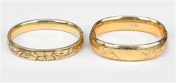 Two Victorian Goldfilled Bangle Bracelets.