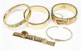 Three Victorian Goldfilled Bangle Bracelet.