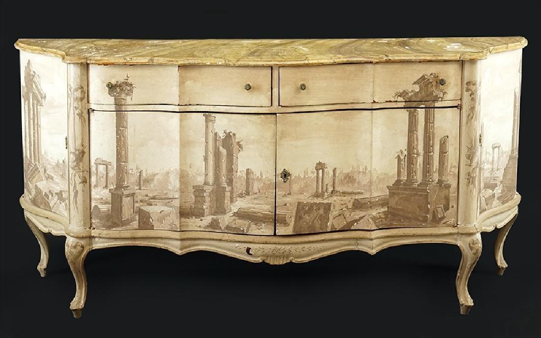 An Italian Trompe L'oeil Sideboard.