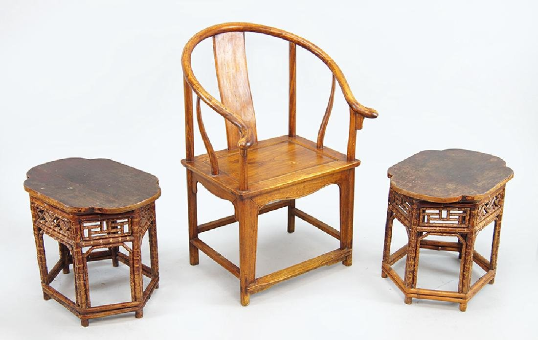 A Pair of Bamboo Side Tables.