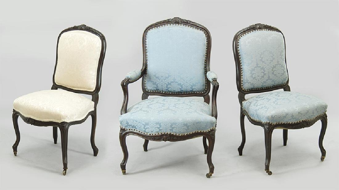A Set of Six French Walnut Chairs.