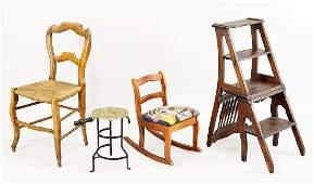An Oak Library Step Ladder  Chair