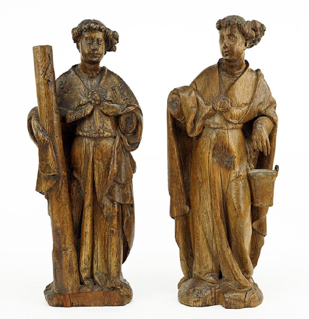 Two Continental Carved Wood Figures.