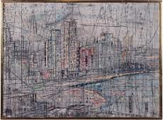 Artist Unknown (American, 20th Century) City Scene.