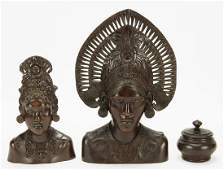 Two Balinese Carved Wood Busts