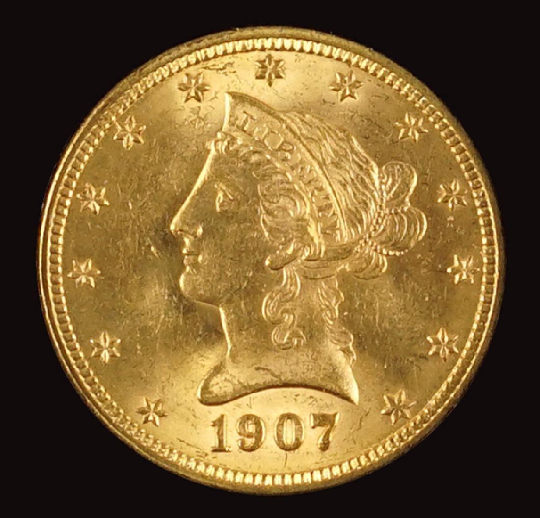 A 1907 Liberty $10 Gold Coin.