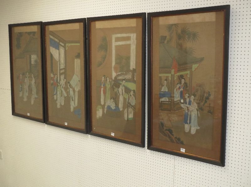Set of four C19th Chinese school paintings with groups