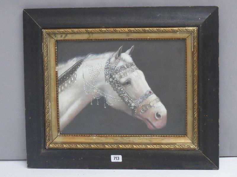 Ebonised framed oil painting of an arab horse in fine