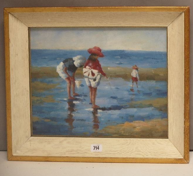 Impressionist oil painting , children at the seaside