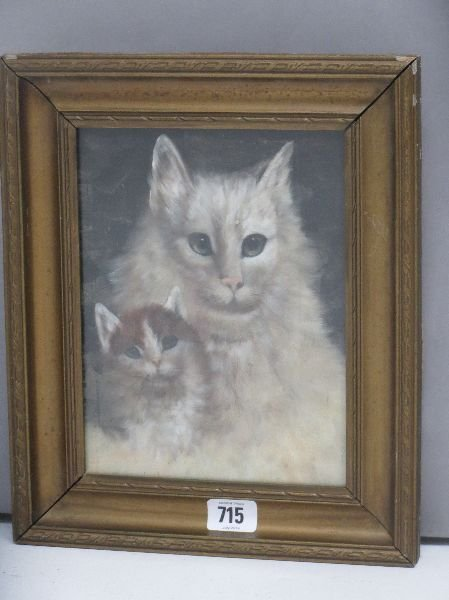 Gilt framed oil painting study of a white cat and