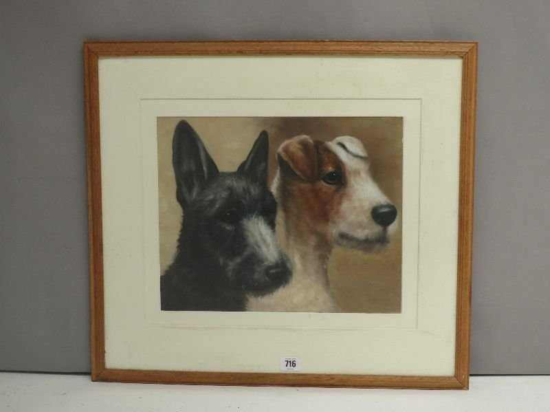 Oak framed oil painting portrait study of a scottie and