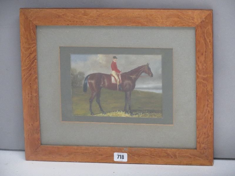 Maple framed oil on board equine study of a jockey and