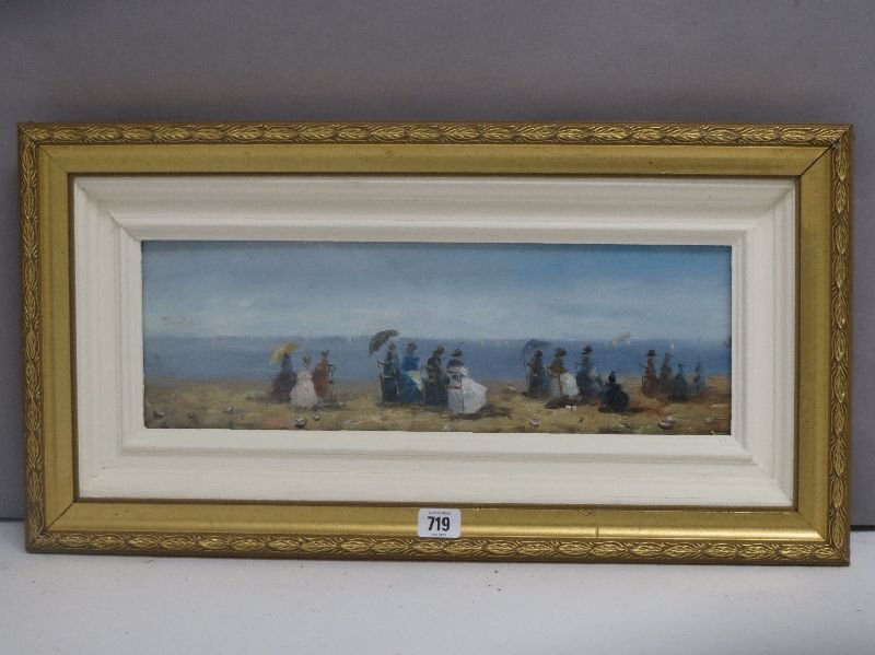 Impressionsit oil painting of a Victorian beach scene