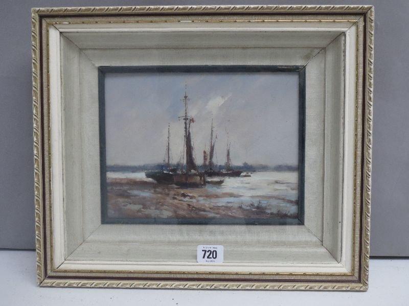Oil on board, an impressionist marine scene, fishing