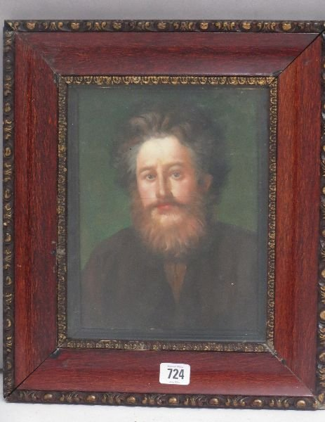 Framed oil painting portrait of English painter and