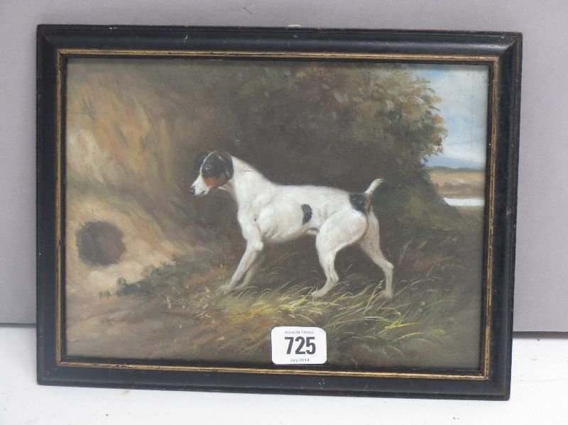 Oil on board a framed study of a terrier on the scent,