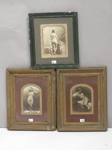 Pair Victorian erotic albumen prints with female nudes