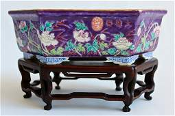 EX-SOTHEBY'S Dayazhai Purple-Ground Famille-Rose Tray 1