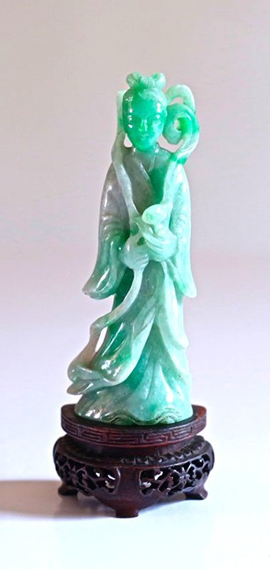 EX-SOTHEBY'S: A CHINESE CARVED JADEITE FIGURE #3