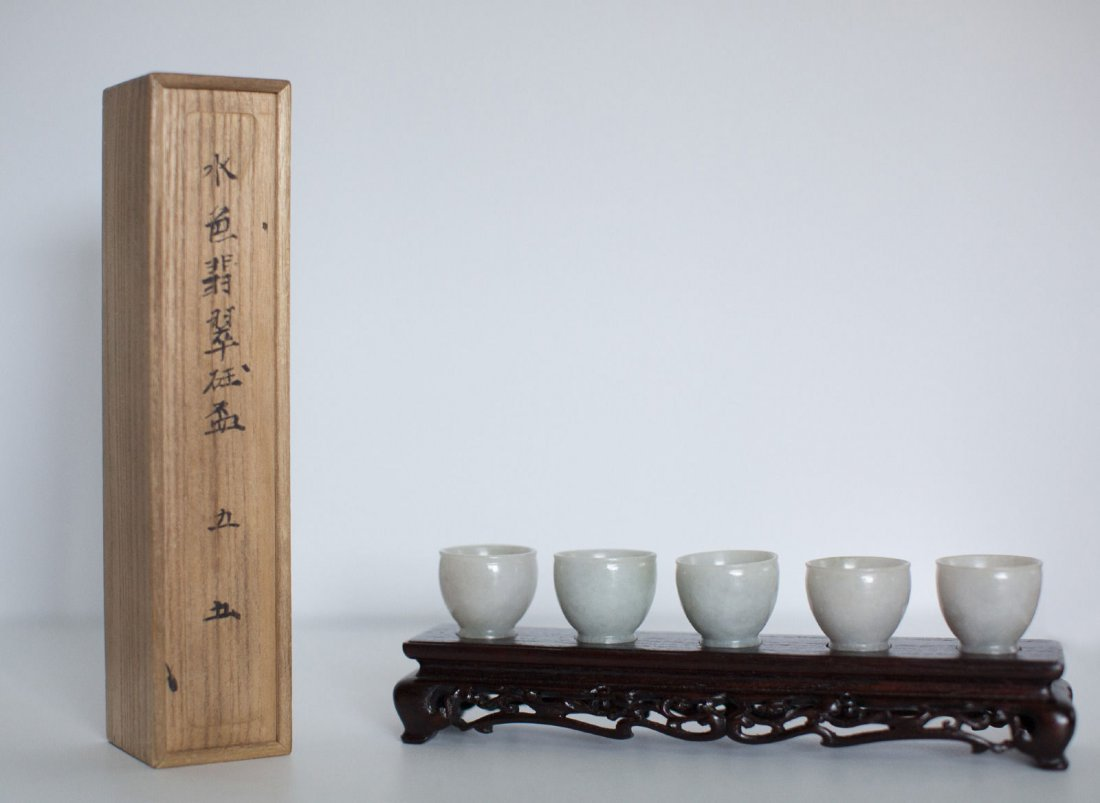 A FINE SET OF CHINESE JADEITE CUPS WITH ORIGINAL BOX