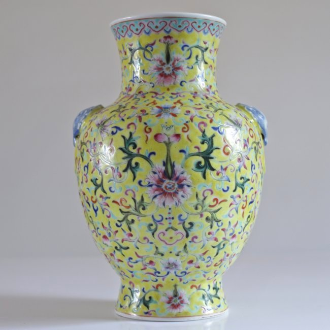 EX-CHRISTIES: A FINE CHINESE JIAQING YELLOW GROUND VASE