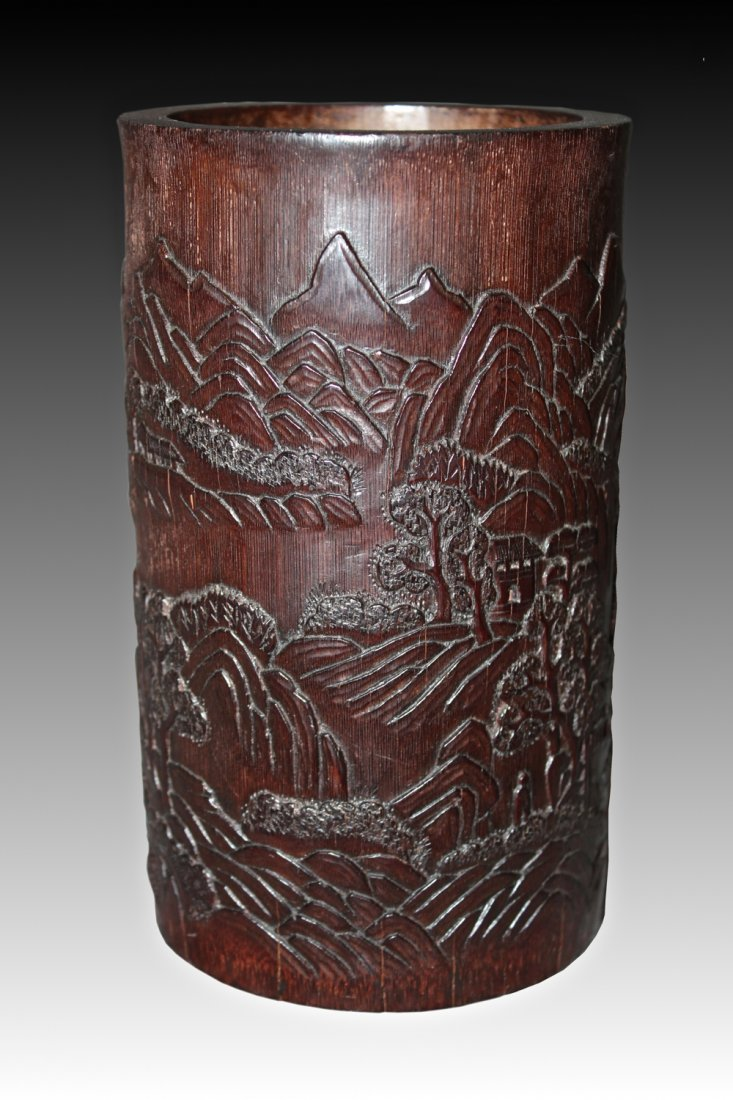 A VERY FINELY CARVED LANDSCAPE CHINESE BAMBOO BRUSH POT