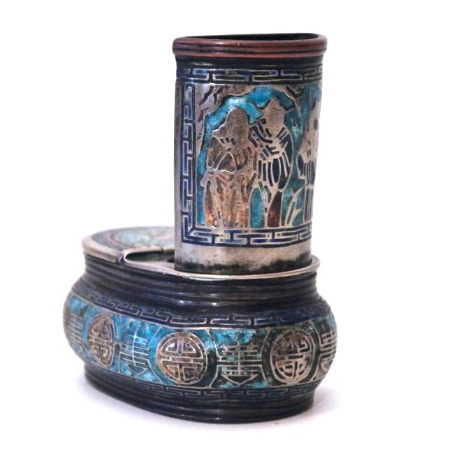 A CURIOUS 19TH C. CHINESE CHAMPLEVE & SILVER ART OBJECT