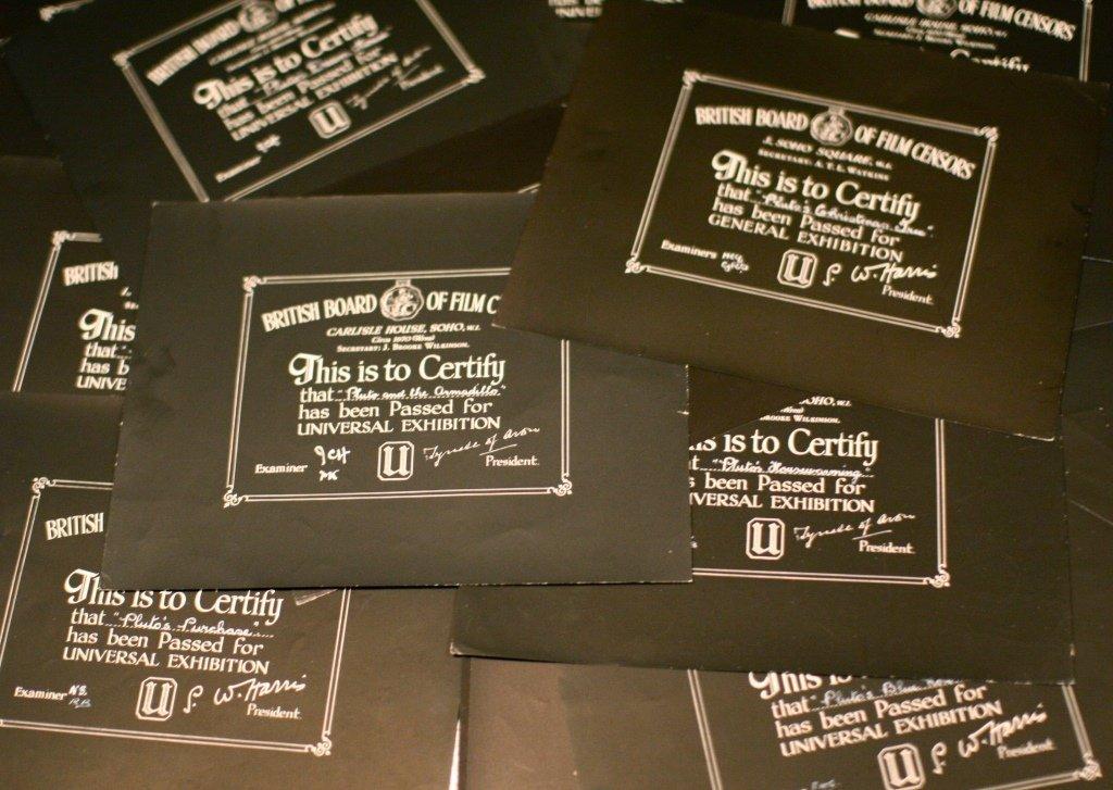 Disney Pluto 22x BBFC Certificates Collection