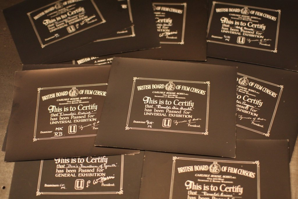 Disney Donald Duck 16 BBFC Certificates