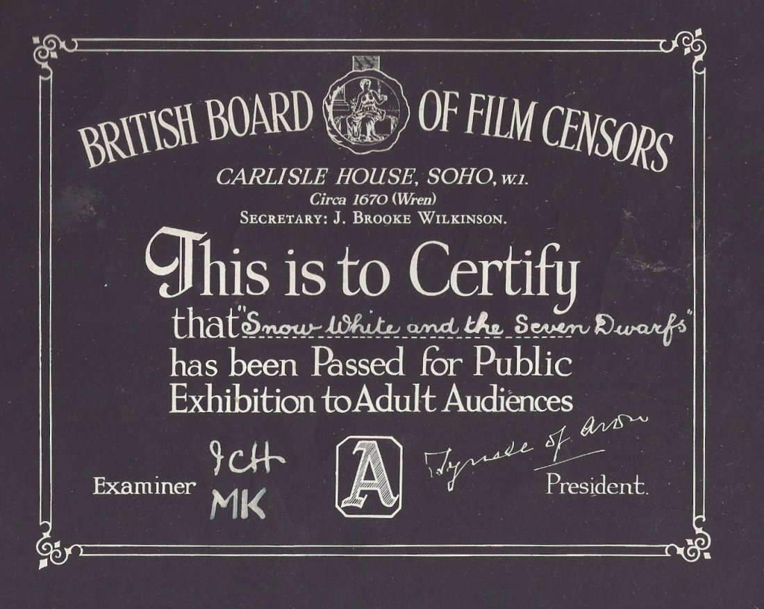 Snow White and the Seven Dwarfs Unique A Rated BBFC