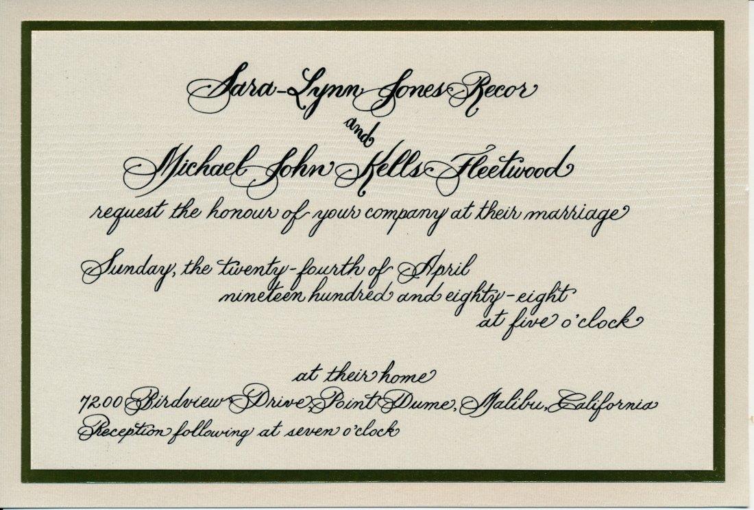 Mick Fleetwood 1987 Offical Wedding Invitation