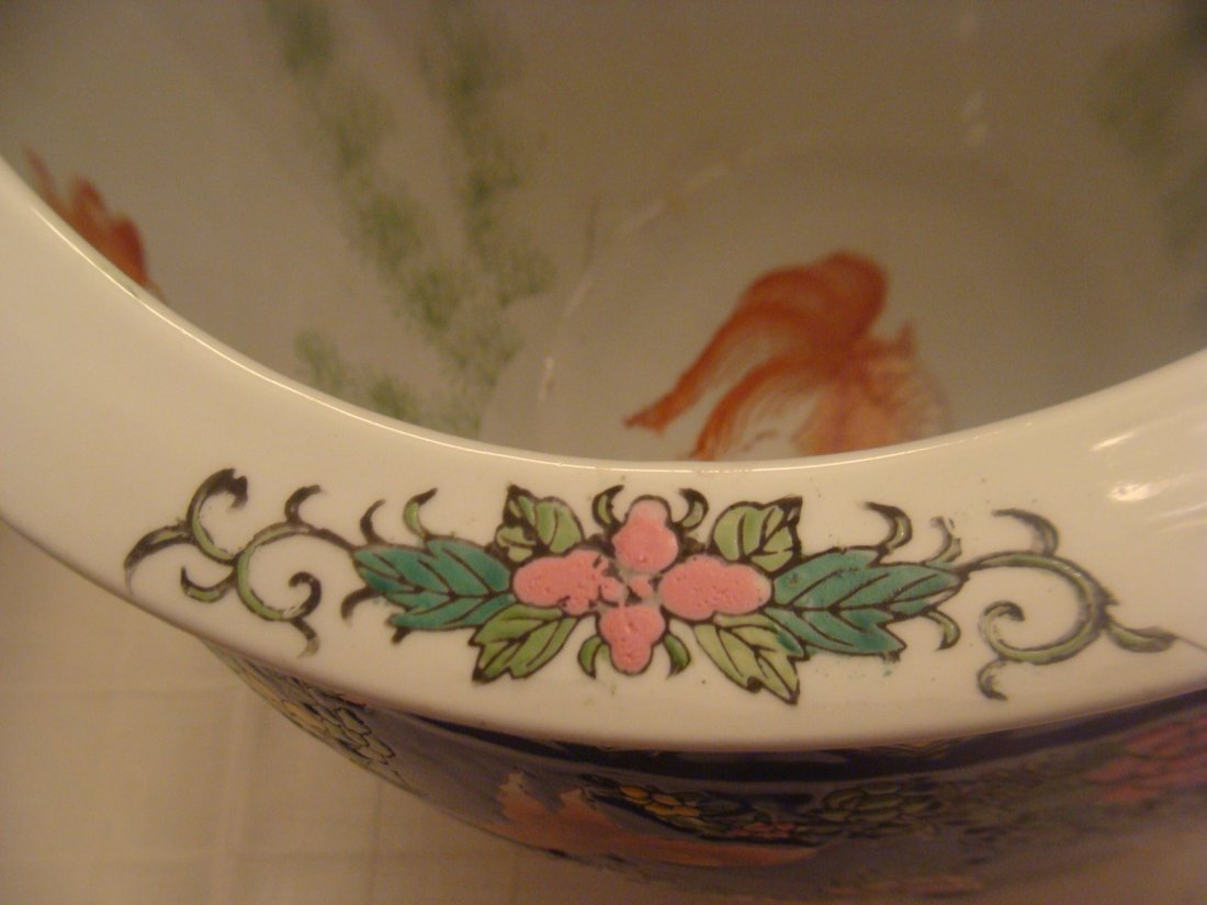 Chinese Fish Bowl Vase Flowers and Butterflies Signed - 10